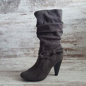 🔵Massini Grey Microsuede Fabric Boots
